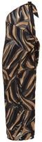 Lisa Marie Fernandez Zerina One-shoulder Crepe-devore Kaftan - Womens - Brown Print