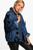 boohoo Plus Robin Vintage Wash Lace Up Denim Jacket