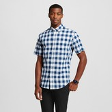 Merona Men's Plaid Short Sleeve Button Down Shirt Blue