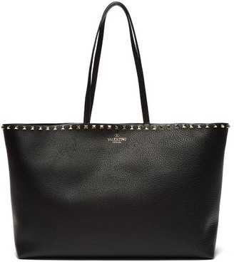 Valentino Rockstud Leather Tote Bag - Womens - Black