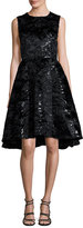 Co Sleeveless Sequined Jacquard Party Dress, Black