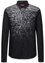 HUGO BOSS Metallic-Print Cotton Sport Shirt, Extra Slim Fit Ero M Black