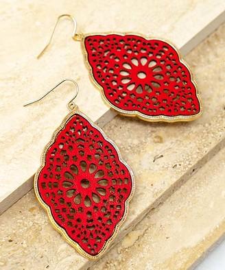 La3accessories LA3accessories Women's Earrings RED - Red & Goldtone Filigree Faux Leather Drop Earrings