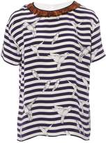 Mother of Pearl Navy Silk Top for Women