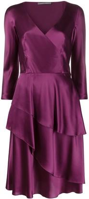 Alberta Ferretti Silk Tiered Mini Dres