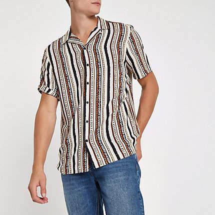 River Island Mens Pink aztec print short sleeve revere shirt