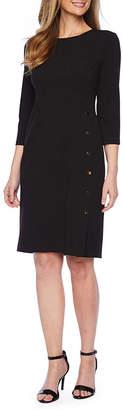 Liz Claiborne 3/4 Sleeve Side-Button Sheath Dress