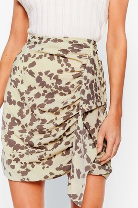 Nasty Gal Womens Cow Print Ruched Ruffle Mini Skirt - Green - 6