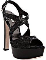 Miu black glitter platform sandals