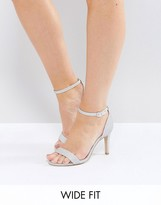 New Look Wide Fit Glitter Barely There Heeled Sandal