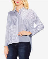 Vince Camuto Mixed-Stripe High-Low Blouse