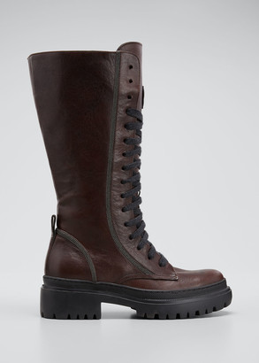 Brunello Cucinelli Tall Monili Lace-Up Moto Boots