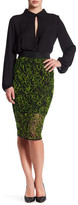 Milly Neon Floret Webbing Midi Skirt