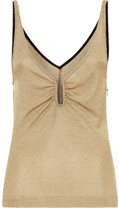 Fendi metallic U-neck tank top