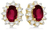 Allurez 2.05ctw Kate Middleton Fashion Natural Oval-Cut Ruby and Diamond Accented Stud Earrings 14k White Gold