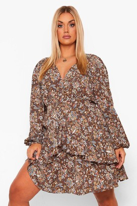 boohoo Plus Ruffle Hem Paisley Mini Dress
