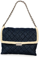 Stella McCartney Quilted Denim & Faux-Shearling Shoulder Bag, Blue