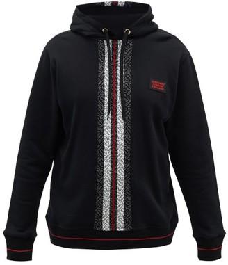 Burberry Larell Monogram-striped Cotton Hooded Sweatshirt - Black