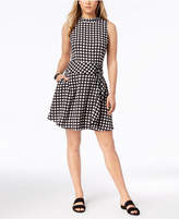 Bar III Plaid Lace-Up Fit & Flare Dress, Created for Macy's