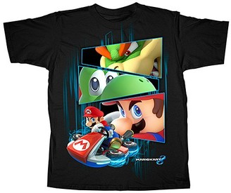 Super Mario Bros. Boys' Tee Shirts BLACK - Mario Kart 8 The Racers Tee - Boys