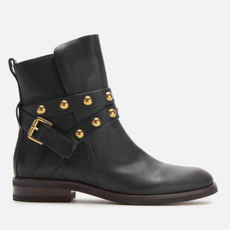 See by Chloe Women's Leather Flat Boots - Nero