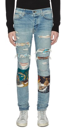 Amiri Scarves art patch ripped jeans