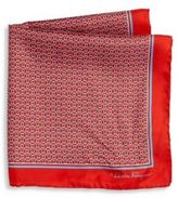 Salvatore Ferragamo Rope Gancini Printed Silk Pocket Square