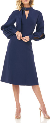 Kay Unger New York Kennedy Belted-Neck Split-Sleeve Stretch Crepe Dress