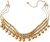 Lydell NYC Golden Triple-Strand Beaded Choker Necklace