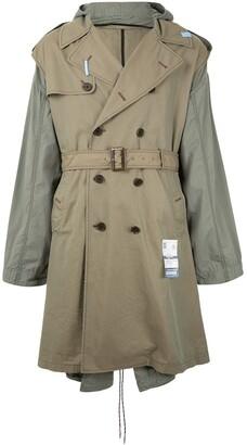 Maison Mihara Yasuhiro Two-Tone Hooded Trench Coat
