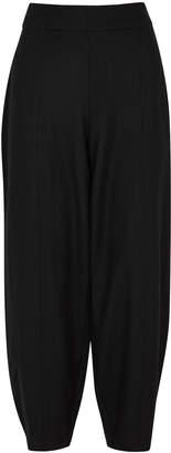 Eileen Fisher Black Tapered-leg Wool Trousers