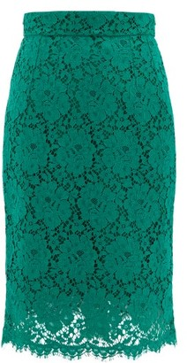 Dolce & Gabbana Floral Cotton-blend Guipure-lace Skirt - Green