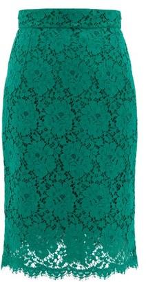 Dolce & Gabbana Floral Cotton-blend Guipure-lace Skirt - Womens - Green