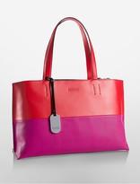 Calvin Klein Platinum Edged Colorblock Leather Tote Bag