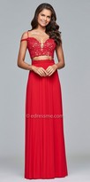 Faviana Two Piece Sweetheart Lace Applique Prom Dress