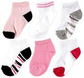Luvable Friends Pink & Black Stripe No-Show Six-Pair Sock Set - Infant
