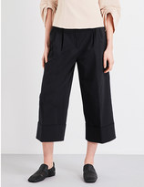 Tibi Cropped wide-leg cotton-blend trousers