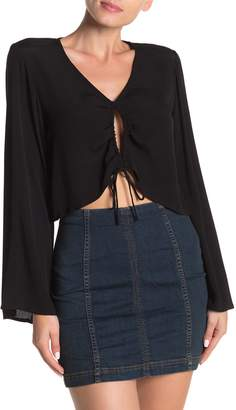 Dee Elly Drawstring Bell Sleeve Crop Top