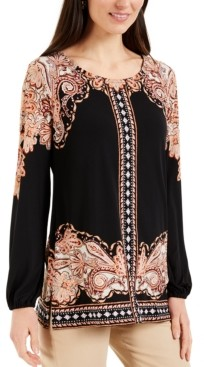 JM Collection Mixed-Print Studded Tunic, Created for Macy's
