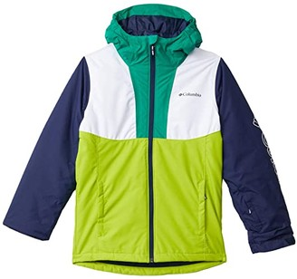 Columbia Kids Timber Turner Jacket (Little Kids/Big Kids) (White/Bright Chartreuse/Collegiate Navy/Emerald Green) Boy's Clothing