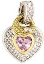 Judith Ripka Diamond & Pink Crystal Heart Pendant