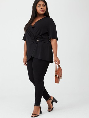V By Very Curve Jersey Wrap Ring Tunic - Black