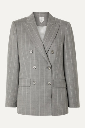 Max Mara Omero Pinstriped Wool-blend Blazer - Gray