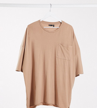 ASOS DESIGN Plus oversized T-shirt with pocket in washed brown
