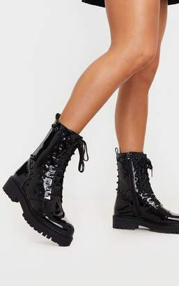 PrettyLittleThing Black Dome Studded High Ankle Lace Up Biker Boot