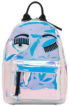 Chiara Ferragni winking eyes holographic backpack