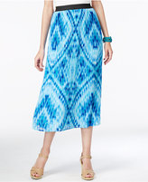 NY Collection Printed Pull-On Pleated Midi Skirt
