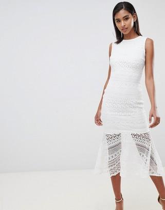 Club L London lace peplem midi dress-White