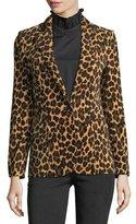 Frame Cheetah-Print Notched Classic Blazer
