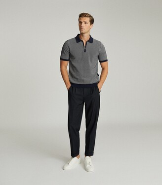 Reiss Daxton - Jacquard Zip Neck Polo Shirt in Navy